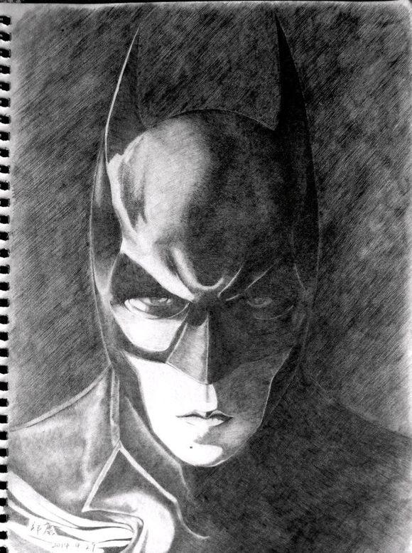 给我一些蝙蝠侠手绘的图片吧越多越好有黑白的更好!
