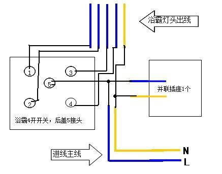4开暖灯浴霸开关,并联1插座,接线速求(有图)