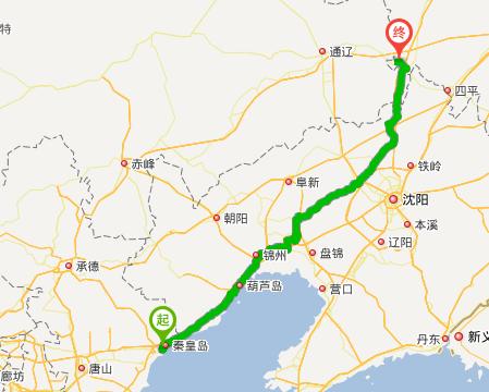 5公里 途经:京哈线,明沈线 秦皇岛市政府 进入西部快速路辅路,行驶490
