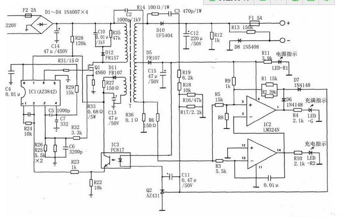 充电电流越大,此负电压就越大,这个负电压经r6,r3加到lm324运放的反相
