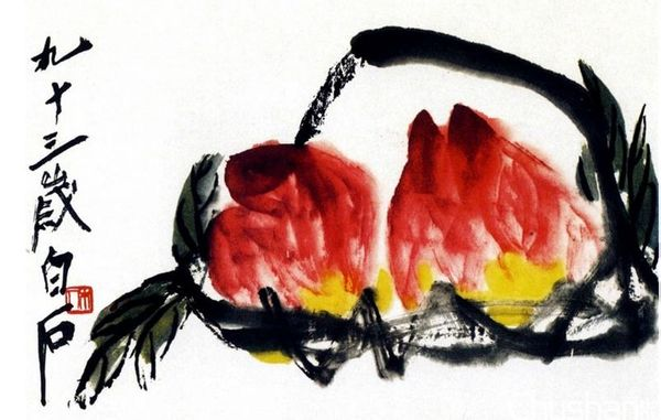 1,兼工带写法:用水墨中锋勾画桃子的外轮廓,然后侧锋湿墨画桃子的