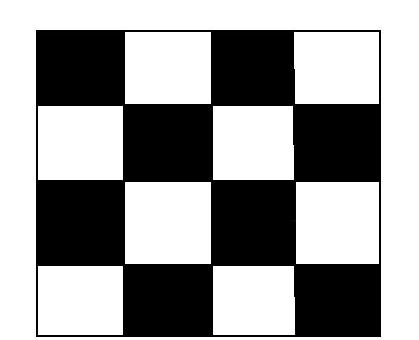 16个大小一样的黑白相间正方形的格子,如何一剪刀把黑白分开?