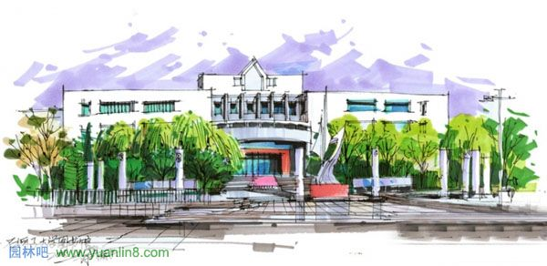 建筑装饰外景手绘