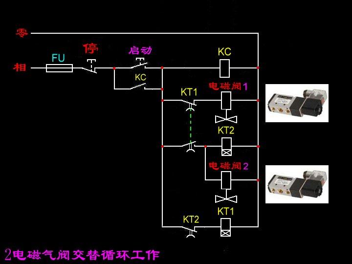 如何利用电磁阀控制双缸顺序动作?电路图怎样画?图片