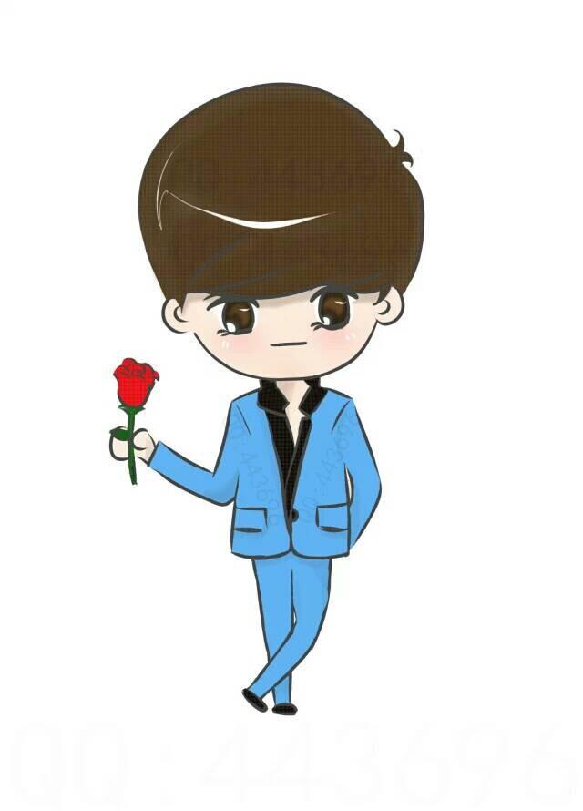 求情侣头像那女生 手拿玫瑰 卡通