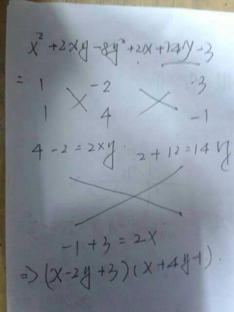 三题因式分解,用双十字相乘法,谢谢.