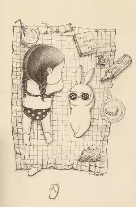 有一组漫画是一个胖胖的小女孩还一只萌萌哒小兔子,不图片