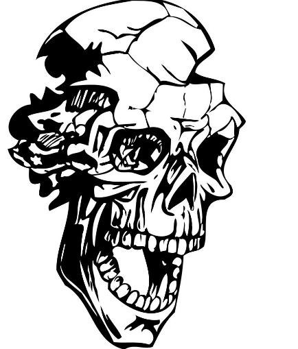 黑白破碎人头像.