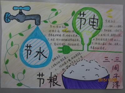节水节粮节电的手抄报图片
