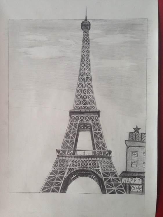 我是男的却喜欢喜欢埃菲尔铁塔,第一个是真的塔,画的四种不同样子的图片