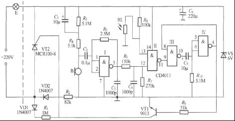 求 数字电路声光控楼梯延迟开关电路(1) protel 原理图及 pcb原文件