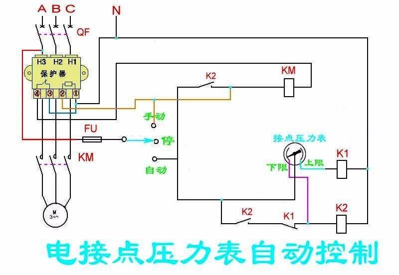 380v电接点压力表实物自动控制电路图