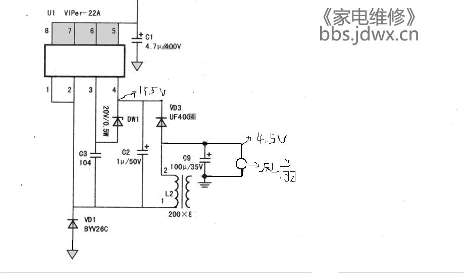 电磁炉采用viper12a芯片的电源18v只有4.5v求解