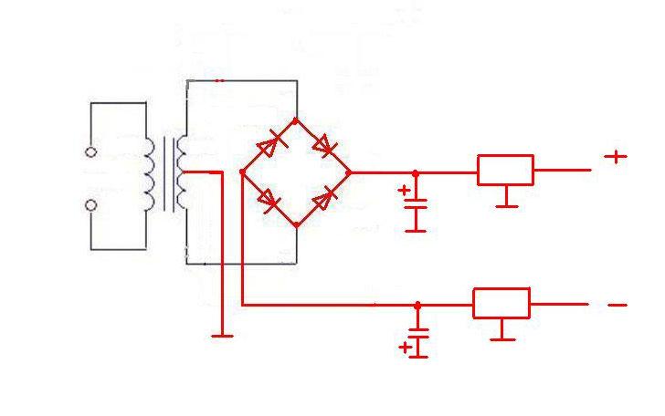 交流电220v变直流电12v双端输出的电路图