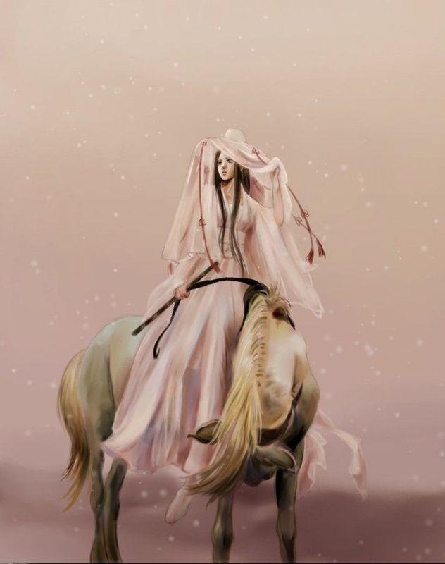 求一张手绘古装侠女图 骑马 白衣