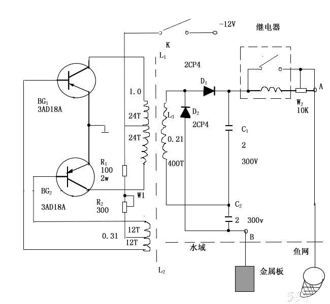 如何制作超声波捕鱼器电路图