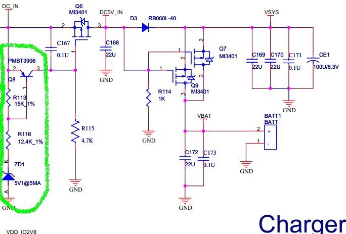 求助图中充电保护电路工作原理,q8,r113,r116,zd1是怎么算各自的电压