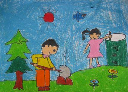环保为主题的美好家园蜡笔画幼儿园小班图片
