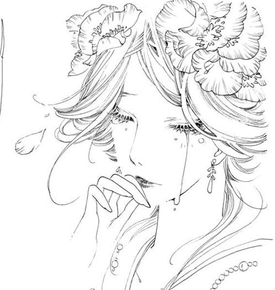 谁有动漫古装女子线稿.不要太难的我要拿来临摹用.