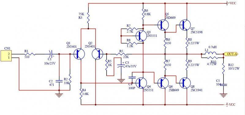 求2sc52002sa1943电子元件管制作功放电路图