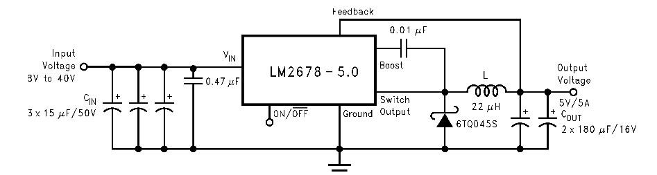 求10-18v降压到 5v 500ma-1a的电路图 注明:我想用大容量的蓄电池给