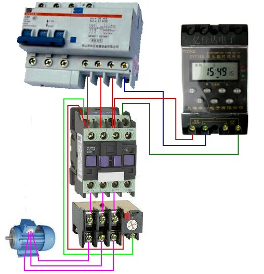 时控开关和断路器,接触器,热继电器的电路接线图?需要图纸一份.