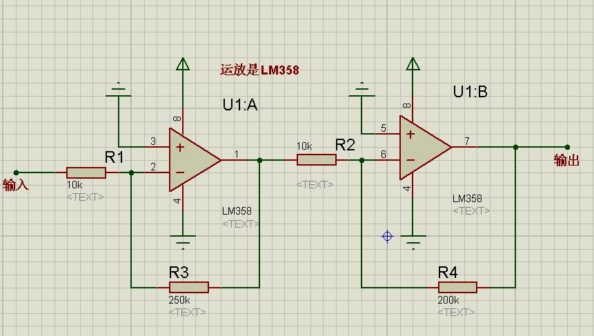 proteus画电路图,设计一个可以放大500倍的运放电路,直接上图就给分