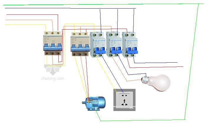 有一个电动机是380v其他的都是220v,那么配电箱里的空气开关怎么接