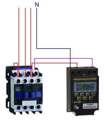 220伏的时控开关(kg316t)与380v交流接触器如何连接并