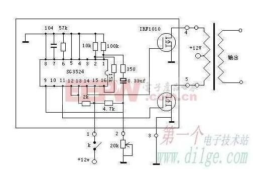 求一幅12v升压到220v的电路图