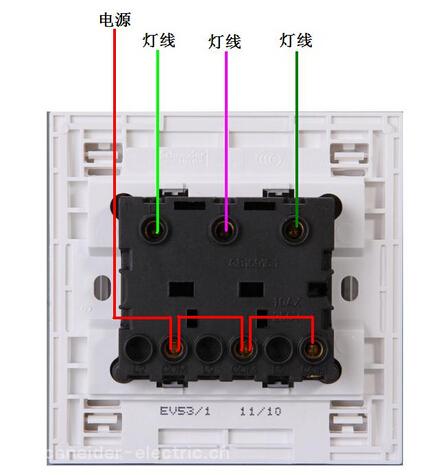 这种三联开关怎么接线呀?