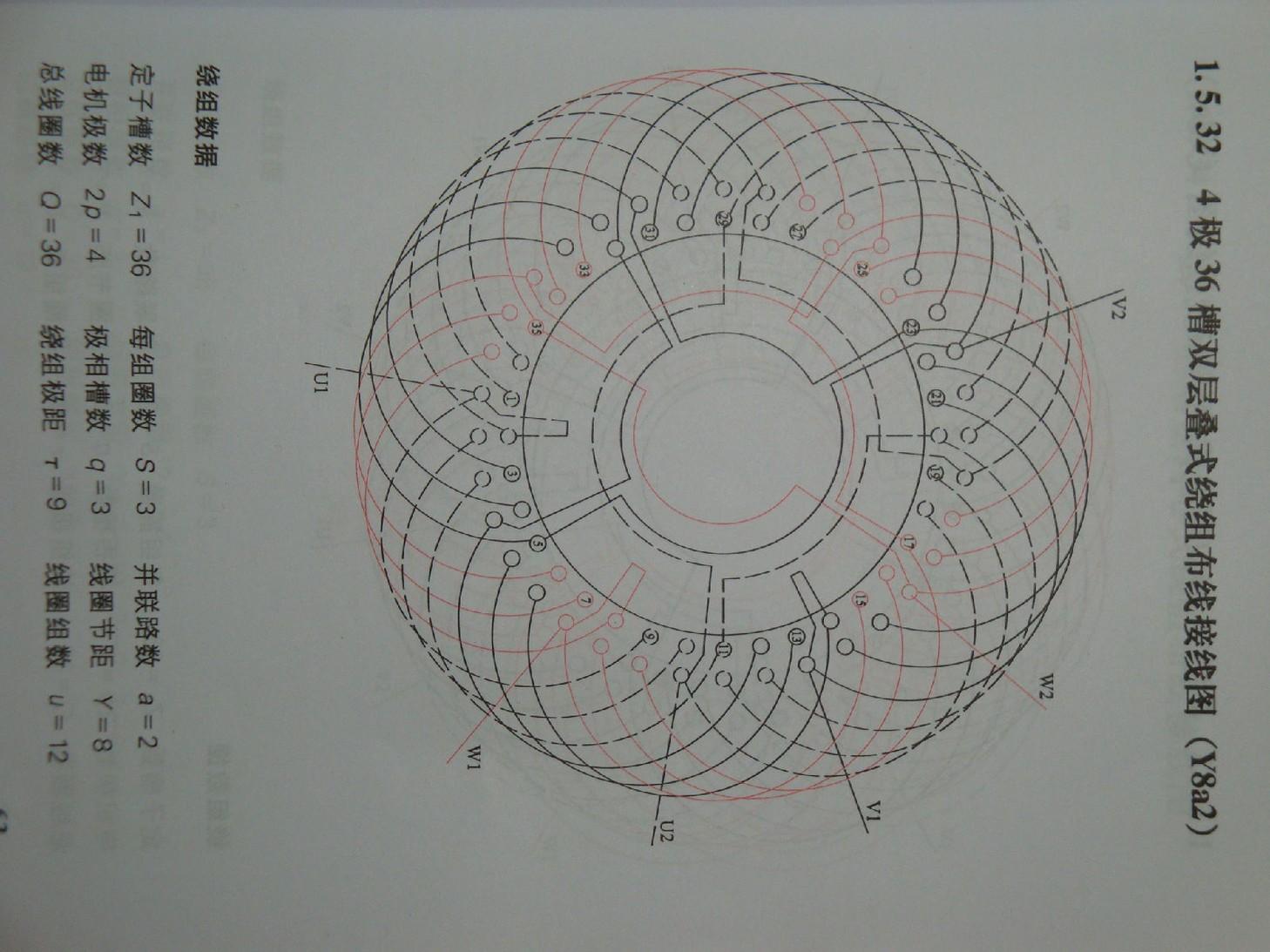 4级36槽双层绕组两路进火如何接线