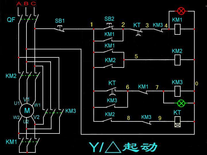 双速电机接线图(降压启动).两个按钮开关,两个指示灯