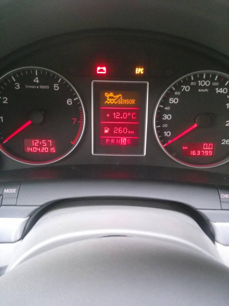 08年的奥迪a4,仪表盘上显示,黄色油壶sensor灯,什么意思啊?