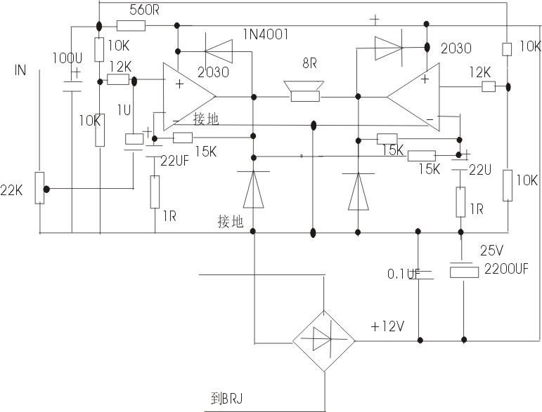 怎样把双电源的tda2030的btl功放电路.改为单12v直流电源供电