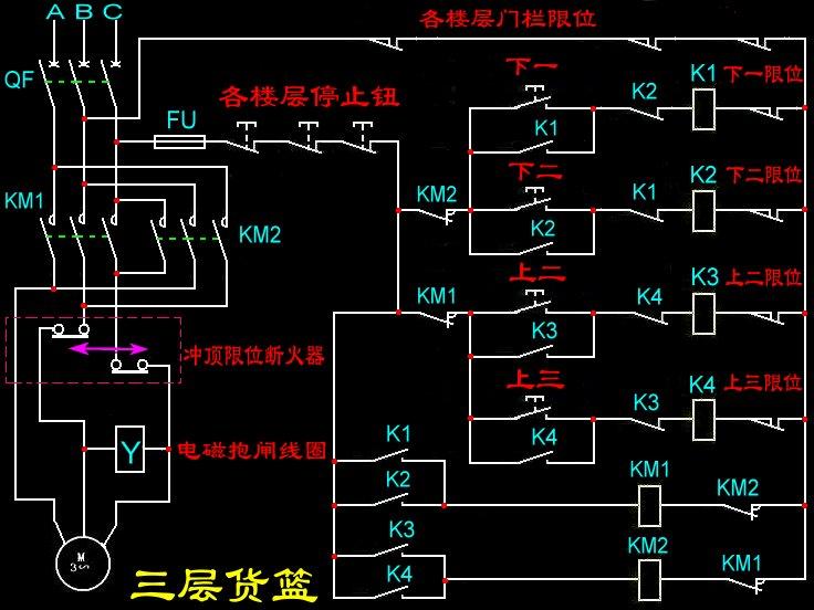求3层电梯控制线路图,不是plc控制,只用行程开关,按钮