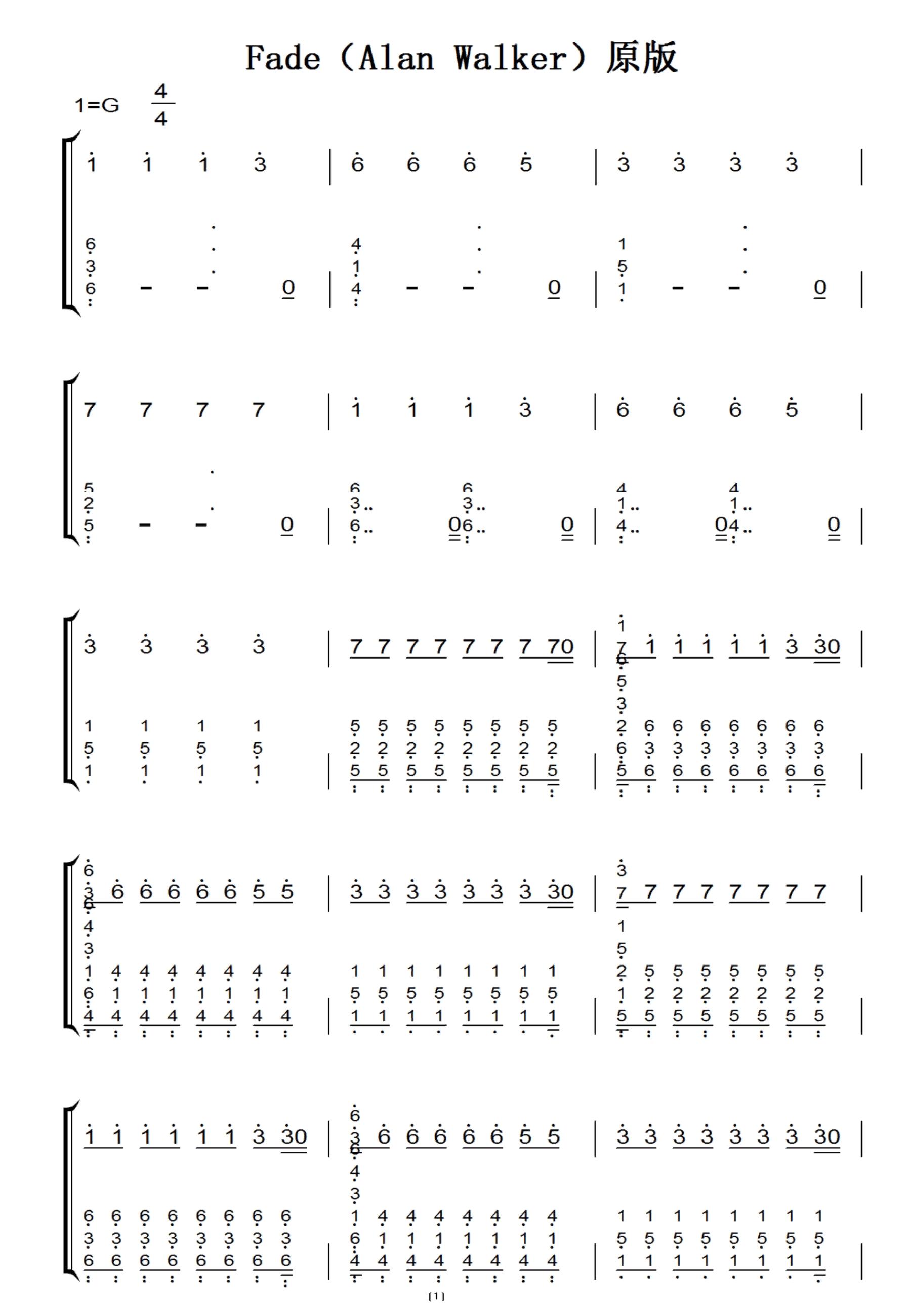 fade钢琴简谱