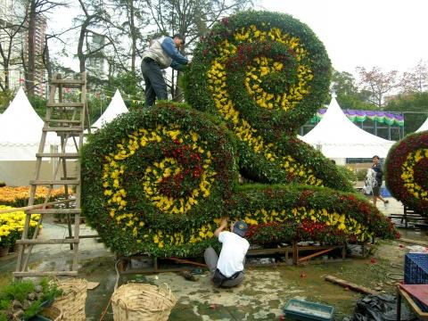 立体花坛的制作过程