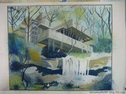 急求流水别墅的手绘图!