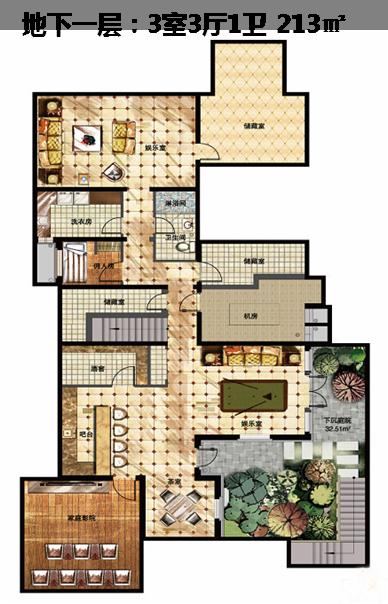 一栋别墅的各层平面图