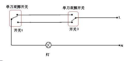 双开关控制一个灯管,开关怎么接,求电路图