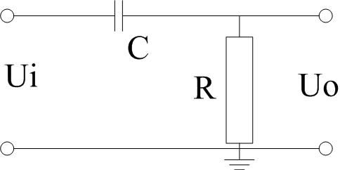 电阻和电容组成的高通滤波器的电路如下