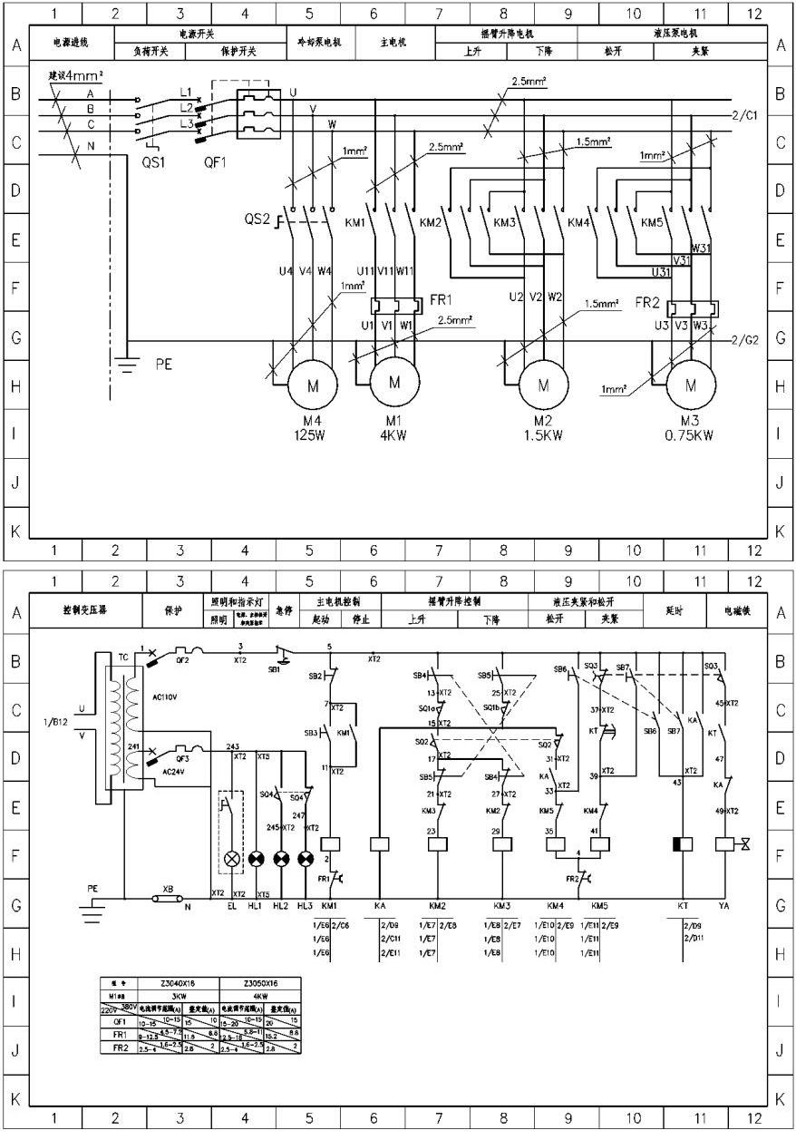 求z3050摇臂钻床电路图