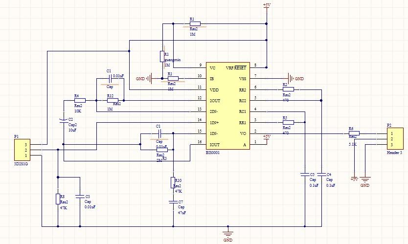 biss0001的热释电红外开关应用电路图