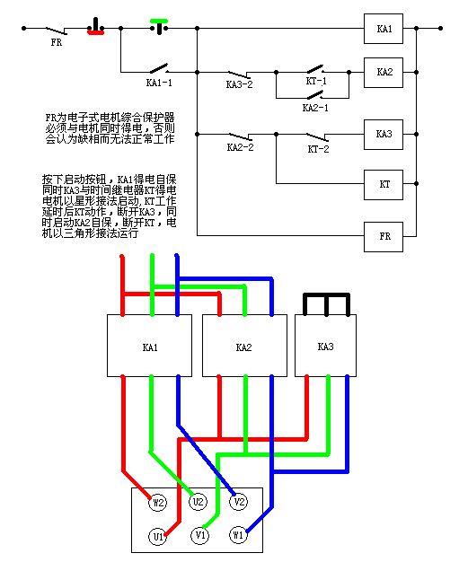 星三角用3个接触器,俩时间继电器,俩中间继电器 y形启动的时候是用三