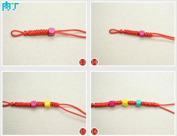手工编织金刚结与串珠手链手绳步骤图解