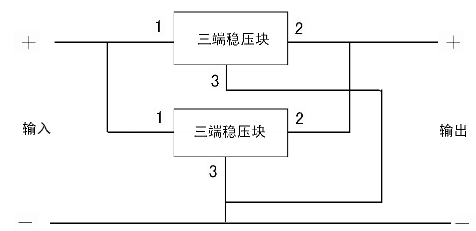 两个7805三端稳压并联的电路图怎么画