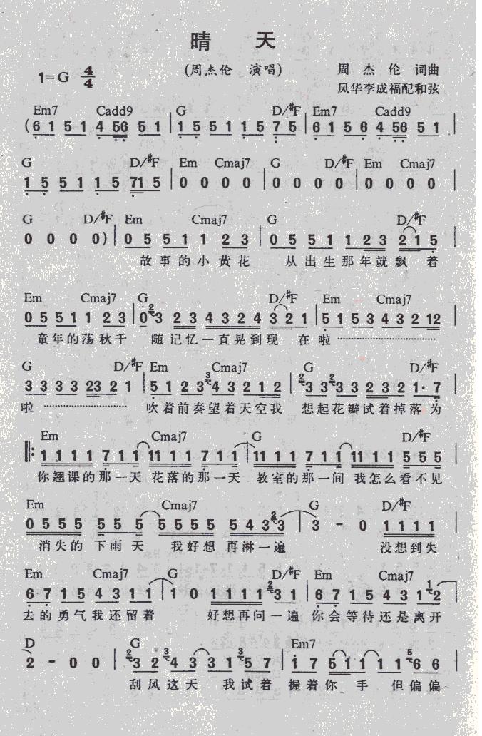 求周杰伦晴天的钢琴谱和12345的简谱!