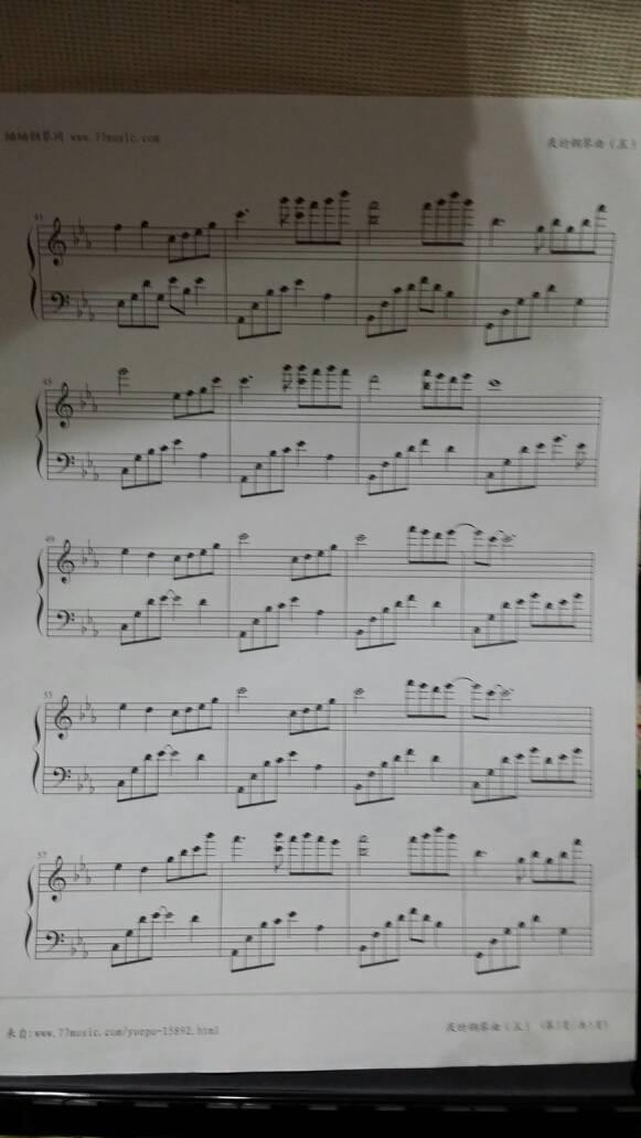 五线谱!夜的钢琴曲五有个是2分07秒的,有个是3分