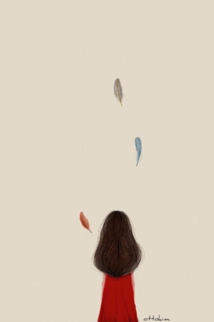 求手绘长发女孩背影图片 类似于这样的 谢谢
